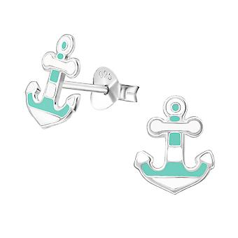 Anchor - 925 Sterling Silver Colourful Ear Studs - W38579X