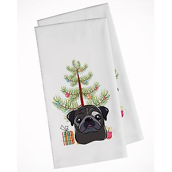Christmas Tree and Black Pug White Kitchen Towel Set of 2