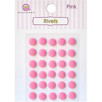 Queen & Co Rivets 6mm Self-Adhesive 12/Pkg-Pink RT-640