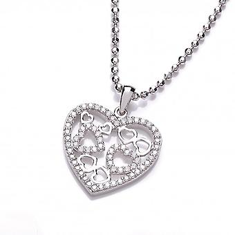 Cavendish French Cubic Zirconia Openwork Heart Pendant with Chain