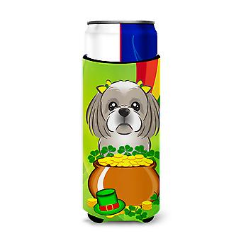 Gray Silver Shih Tzu St. Patrick's Day Michelob Ultra Koozies for slim cans BB1994MUK