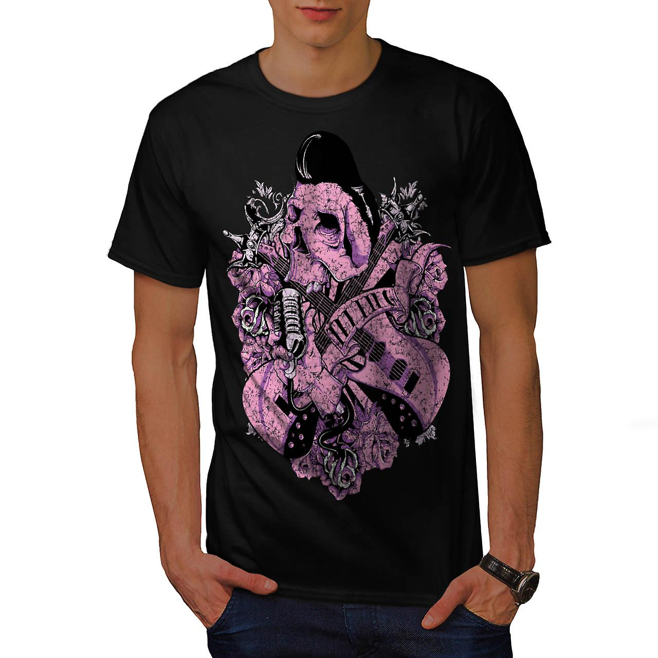 Rock N Roll Skull Music Men Black T-shirt | Wellcoda
