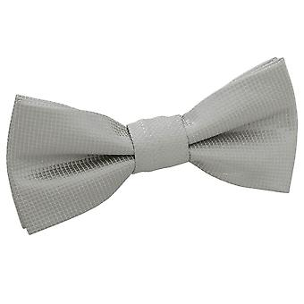 Zilveren solide Check vooraf gebonden strikje voor jongens