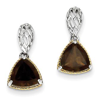 Sterling Silver Polished Post Earrings Rhodium-plated With Flash Gold-FlashedAccent Smokey Quartz Earrings