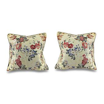 Pair of Satin Floral Pillow Covers