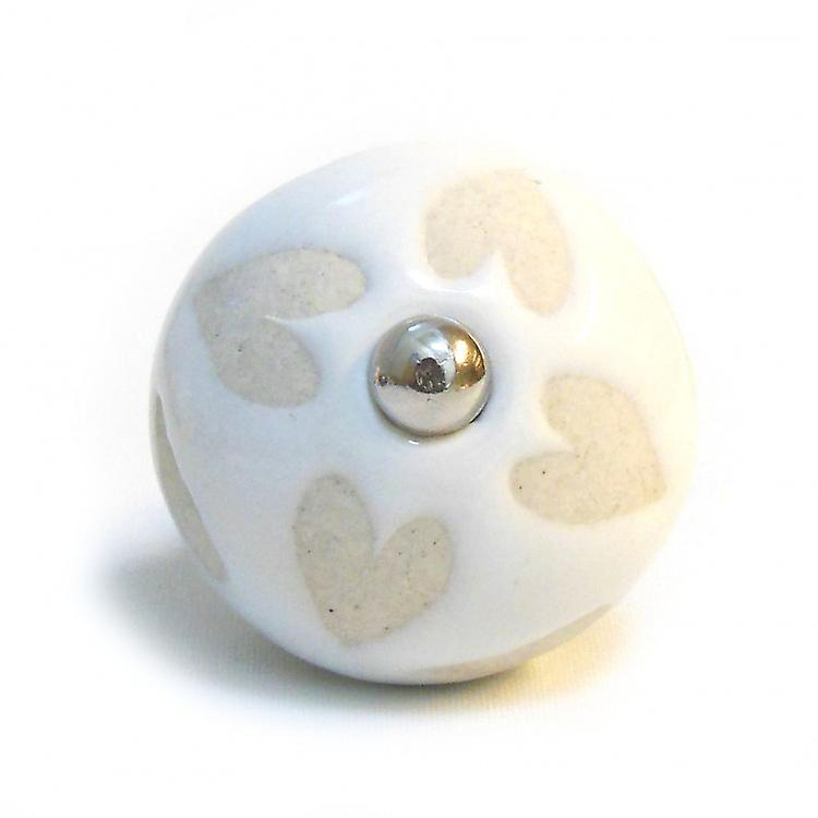 Cream With Heart Shapes Ceramic Knob