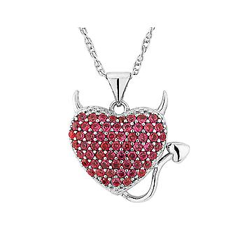 Created Ruby Devil Heart Pendant Necklace in Sterling Silver with Chain