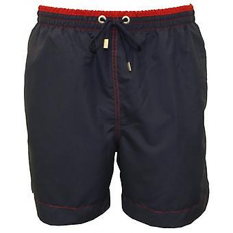 Jockey Contrast Waistband Swim Shorts, Navy/Red