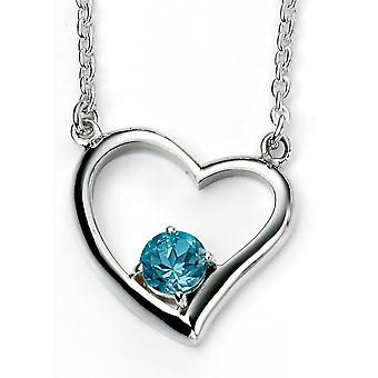 925 Silver Plated Rhodium Heart And Topaz Blue Necklace Trend