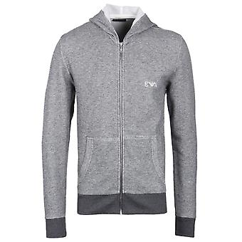 Emporio Armani grau meliert Hooded Zip durch Lounge Pullover