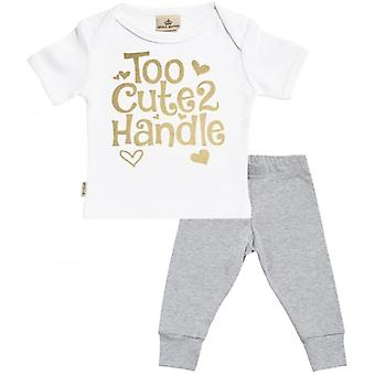 Spoilt Rotten Too Cute 2 Handle Baby T-Shirt & Baby Jersey Trousers Outfit Set