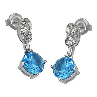 Earring studs silver with cubic zirconia light blue / white rhodium-plated 925 sterling silver