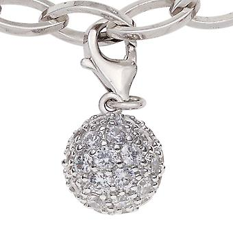 Single earrings charm ball 925 sterling silver rhodium plated with cubic zirconia