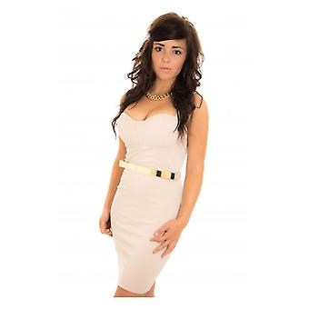 The Fashion Bible Body Heat Gold Belted Bodycon Dress In Beige