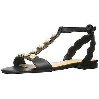 Marc Fisher Womens Elana Leather Open Toe Casual Flat Sandals