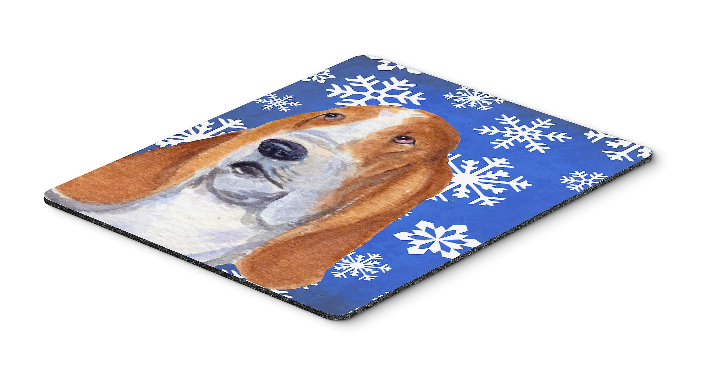 Basset Hound Winter Snowflakes Holiday Mouse Pad, Hot Pad or Trivet