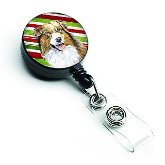 Australian Shepherd Candy Cane Holiday Christmas Retractable Badge Reel