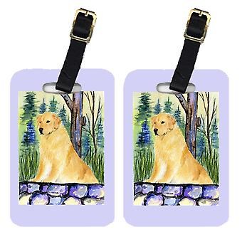 Carolines Treasures  SS8111BT Pair of 2 Golden Retriever Luggage Tags