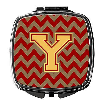 Letter Y Chevron Garnet and Gold  Compact Mirror