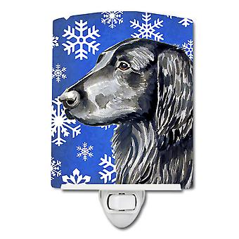 Flat Coated Retriever Winter Snowflakes Holiday Ceramic Night Light
