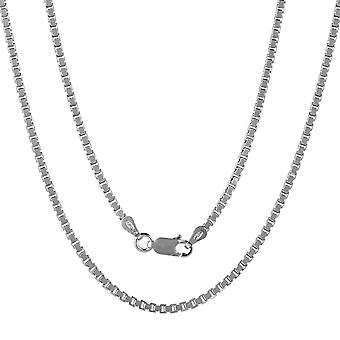 Sterling Silver 925 Unisex Womens Mens Solid Box Chain Fine Necklace Width 2mm