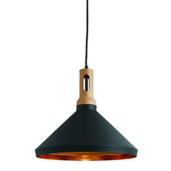 Black And Wood Fitting With Gold Inner - Searchlight 7051bk