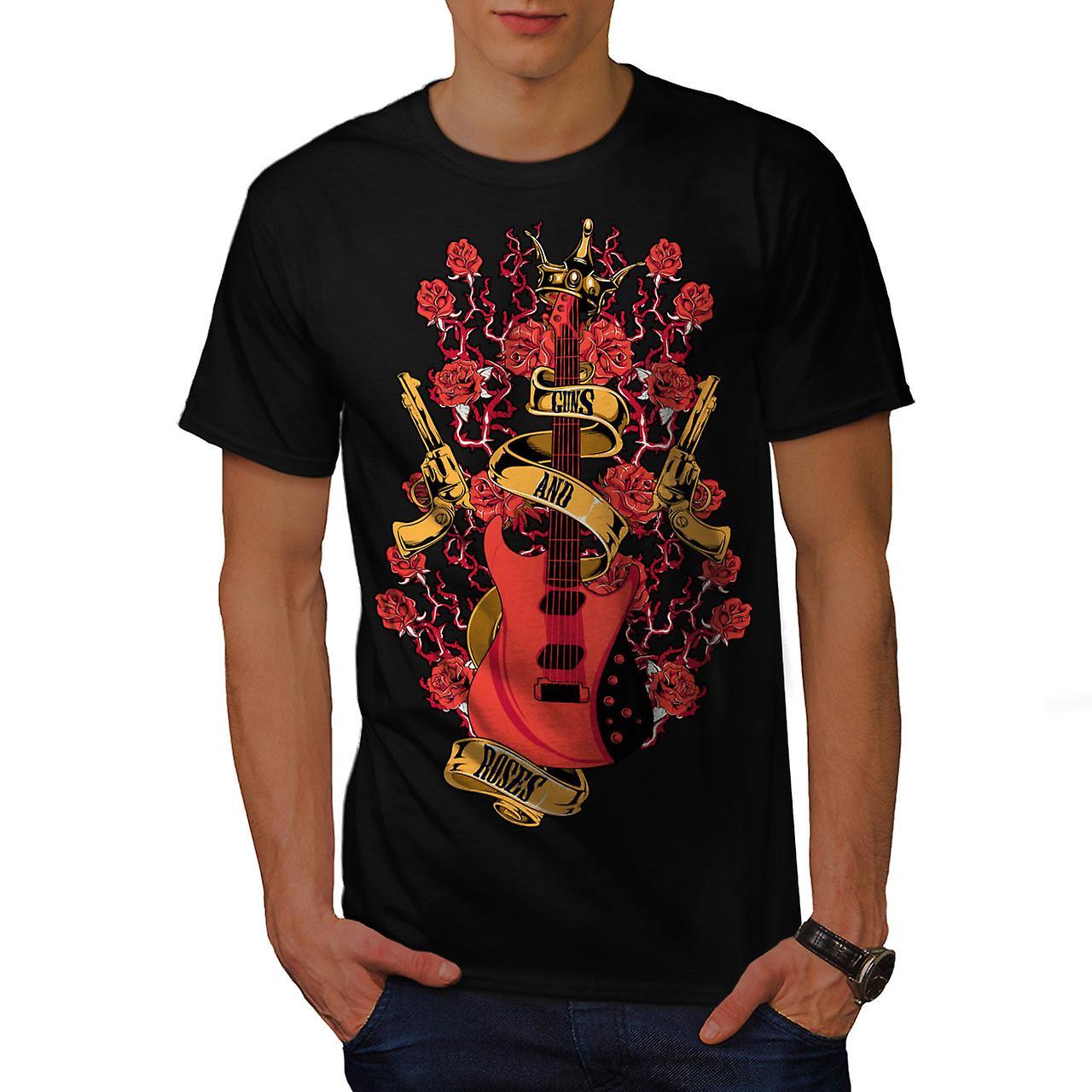 Roses and Guns Rock Men Black T-shirt | Wellcoda