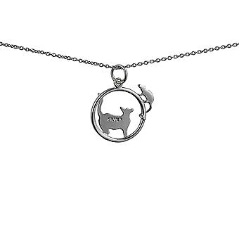 Silver 20x17mm Cat looking left and Mouse in a circle Pendant with rolo Chain 14 inches Only Suitable for Children
