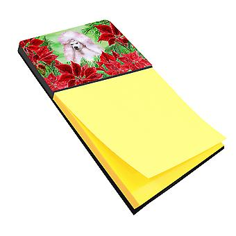 White Standard Poodle Poinsettas Sticky Note Holder