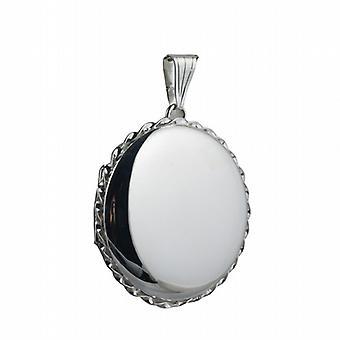 Silver 31mm plain twisted wire edge round Locket