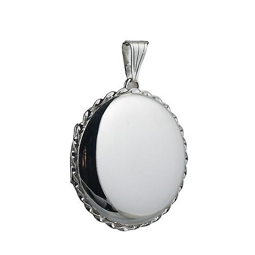Silver 31mm plain twisted wire edge round Locket