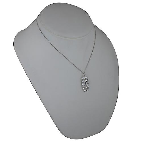 Silver 33x17mm Gemini Zodiac Pendant with a Curb chain