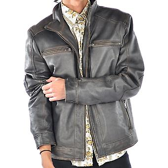Brown Mens Distressed Clayton Leather Jacket