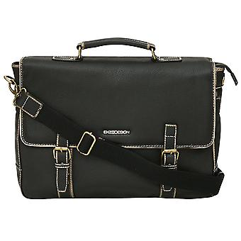Enzo Design Leather Business Briefcase With Vintage Style Finish