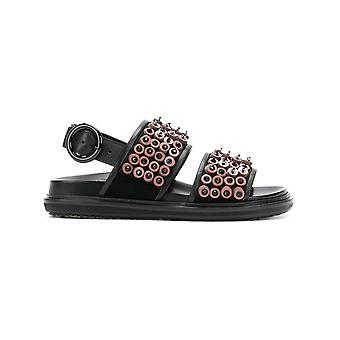 Marni women's FBMSY09G01LV755ZL417 black leather sandals