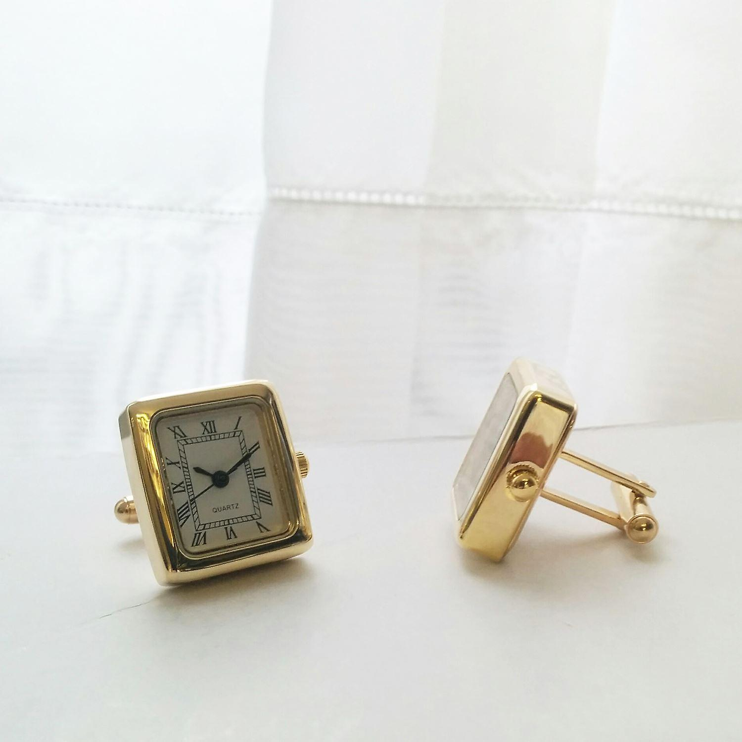 Mens Ladies Working Gold Tone Square Clock Watch Cufflinks Wedding Formal Business