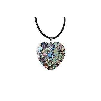 Woman heart abalone heart pendant and necklace
