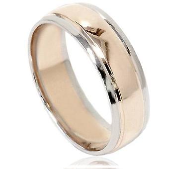 Mens 14K Gold Two Tone Plain Polished Wedding Band Ring