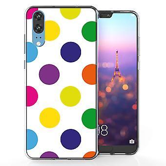 Huawei P20 meerkleurige Polka Dot TPU Gel geval