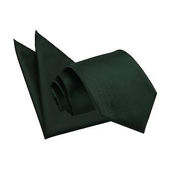 Cravatta Check tinta verde scuro & Set Square Pocket