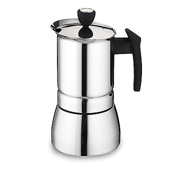 Cafe Ole 9/6-Cup Italian Style Stainless Steel Espresso Coffee Maker, Silver, 360/ 240 ml