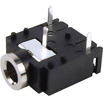 Cliff FC68131 3.5 mm audio jack Socket, horizontal mount Number of pins: 3 Stereo Black 1 pc(s)