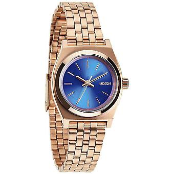 Nixon The Small Time Teller Watch - Rose Gold/Cobalt