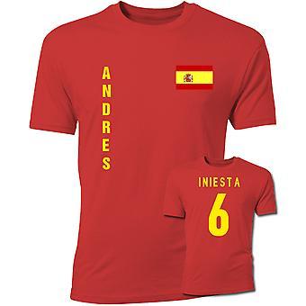 Andres Iniesta Spanien-Flaggen-T-Shirt (rot)