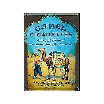 Camel Zigaretten Metall Postkarte / Mini Zeichen