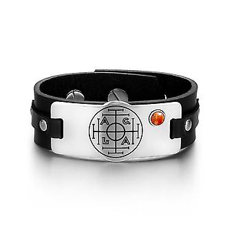 Fortune Wealth Success Magic Circle Amulet Red Jasper Gemstone Black Leather Bracelet