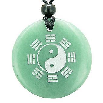 Yin Yang Eight Trigrams Amulet Magic Circle Gemstone Pendant Necklace
