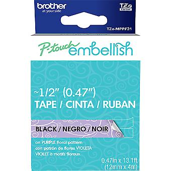 P-Touch Embellish Black Print Pattern Tape -Purple Floral