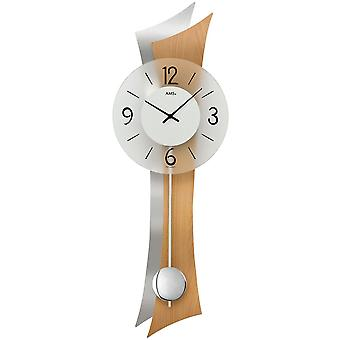 Wand Uhr Wanduhr Quarz mit Pendel Holzrückwand Mineralglas