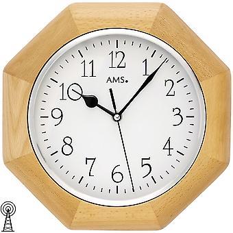 Ścienny zegar radio radio sterowane ściana zegar analogowy drewnianej ramie buk ośmiokątna